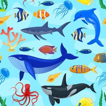 Patrón con animales del océano