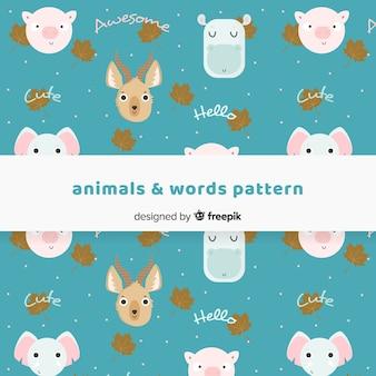 Patrón animales y palabras dibujados a mano