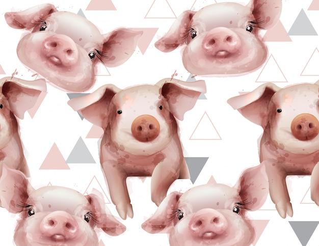 Patrón de año de cerdo acuarela