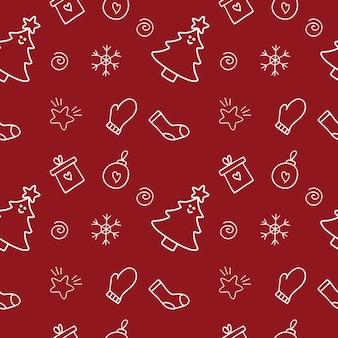 Patrón de año nuevo sin fin sin fin sobre un fondo rojo. un conjunto de ilustraciones vectoriales de doodle para diseño de ropa, textiles, confección, confección de una portada para el bloc de notas. papel de regalo de navidad.
