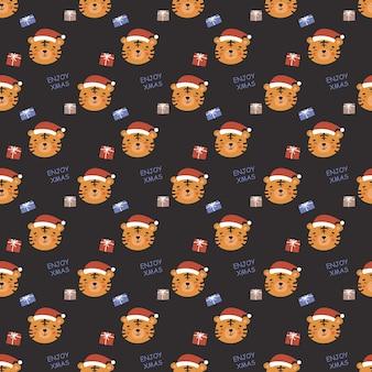 Patrón de año nuevo sin fisuras en estilo doodle. diseño para envolver regalos, postales y más. cabeza de tigre con sombrero rojo de año nuevo, cajas de regalo.