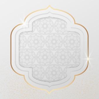 Patrón árabe en marco dorado brillante