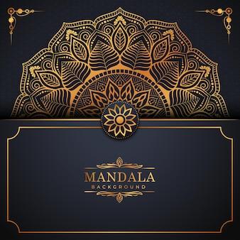 Patrón de arabescos de oro de lujo en fondo de mandala vector premium