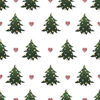 Patrón de árbol de navidad sobre un fondo blanco con corazones adorno de año nuevo de moda para envolver regalos