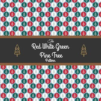 Patrón de árbol de pino verde rojo blanco