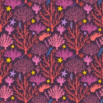Patrón de árboles a color