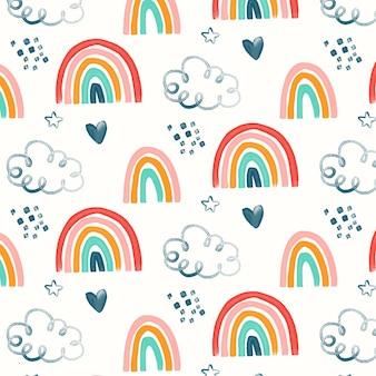 Patrón de arco iris acuarela pintado a mano
