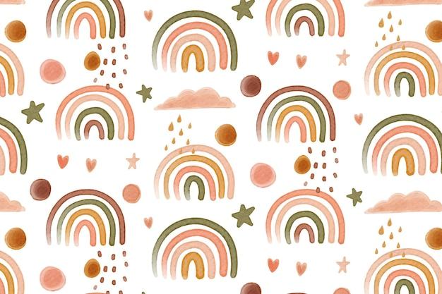 Patrón de arco iris de acuarela
