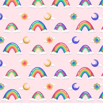 Patrón de arco iris colorido plano