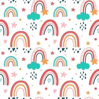 Patrón de arco iris de diseño plano