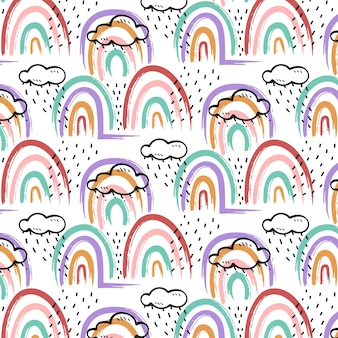 Patrón de arco iris de estilo pintado a mano
