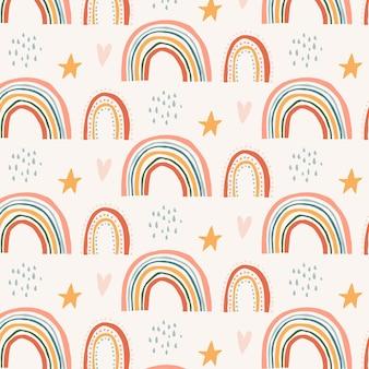 Patrón de arco iris con formas de estrellas