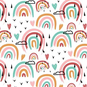 Patrón de arco iris pintado a mano