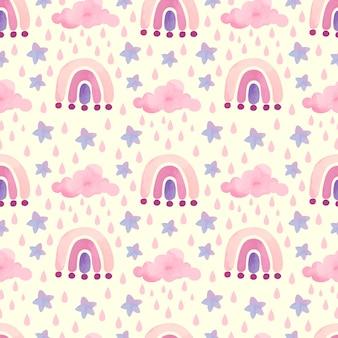 Patrón de arco iris rosa acuarela con nubes y estrellas
