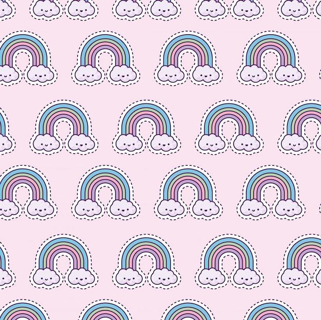 Patrón con arcoiris y nubes, estilo parche