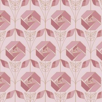 Patrón art deco ornamental de oro rosa