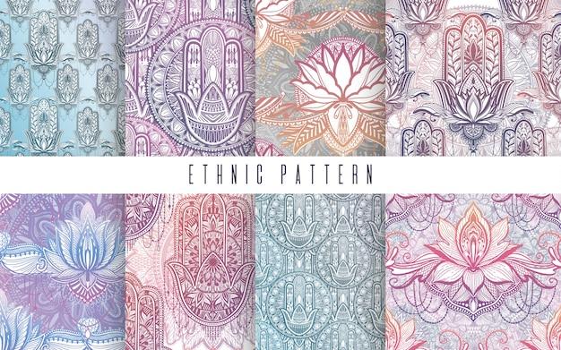 Patrón de arte establecido flor de loto mandala. impresión abstracta étnica.