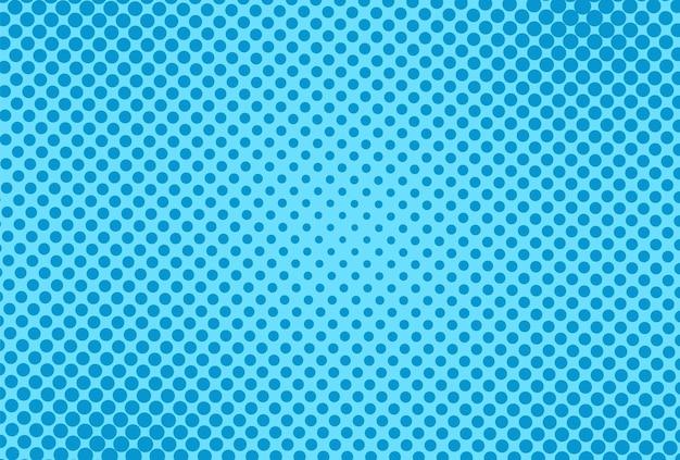 Patrón de arte pop. fondo punteado cómico de semitono. impresión azul con círculos. estampado duotone superhero