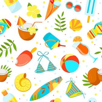Patrón de artículos de verano. tema de la playa. estilo de dibujos animados.