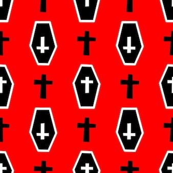 Patrón con ataúdes y cruces sobre un fondo rojo