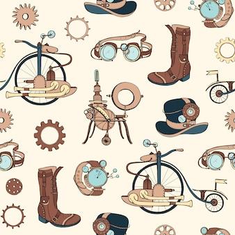 Patrón con atributos steampunk y ropa dibujada a mano sobre fondo claro.