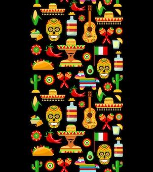 Patrón con atributos tradicionales mexicanos.