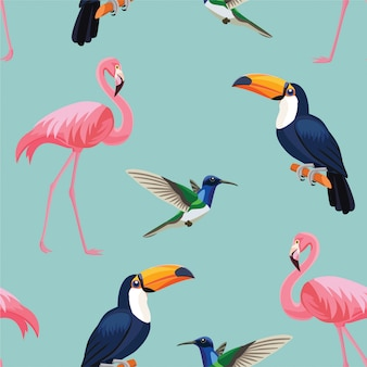Patrón de aves tropicales.