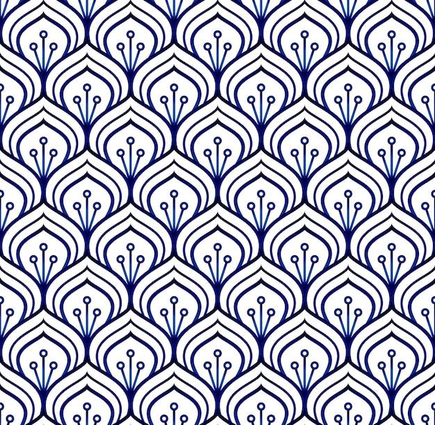 Patrón azul y blanco