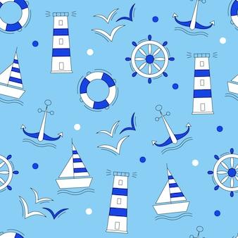 Patrón azul de elementos marinos