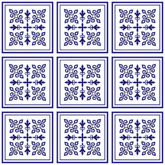 Patrón de azulejo, diseño decorativo de porcelana, decoración floral azul y blanca, gran elemento de cerámica en el centro es marco, hermoso techo de damasco y estilo barroco