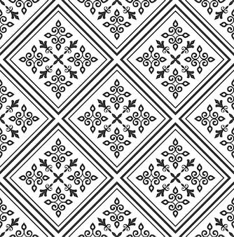 Patrón de azulejo estilo damasco, papel pintado clásico blanco y negro