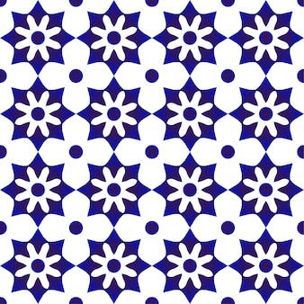 Patrón de azulejos lindo azul y blanco