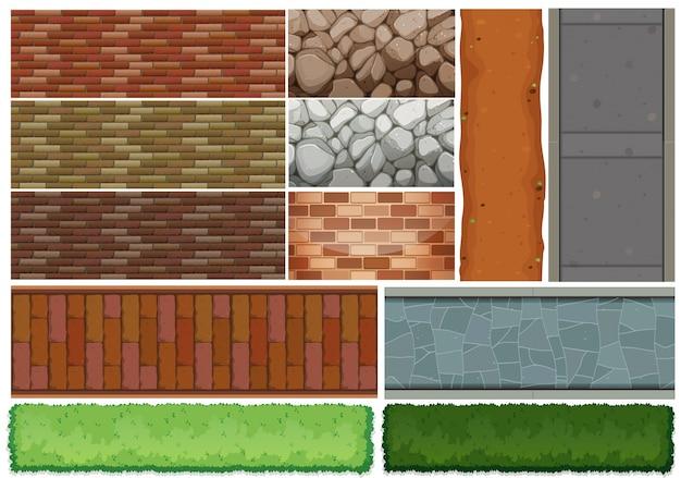 Patrón de azulejos de pared y arbusto