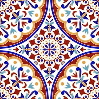 Patrón de azulejos vintage con colorido estilo turco mosaico