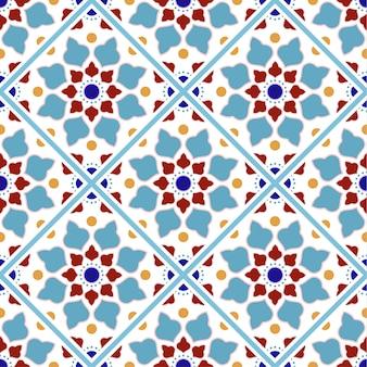 Patrón de azulejos vintage con mosaico de colores
