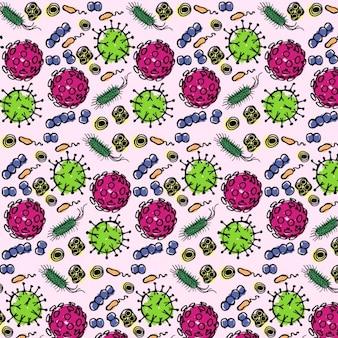 Patrón con bacterias dibujadas a mano