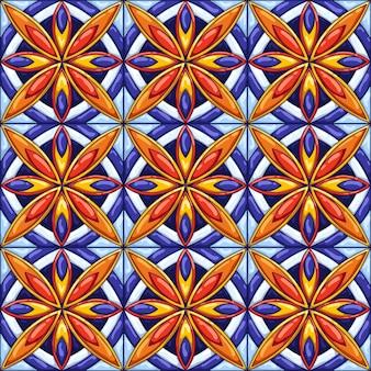 Patrón de baldosas de cerámica. fondo abstracto decorativo. talavera mexicana ornamentada tradicional, azulejo portugués o mayólica española