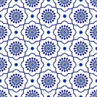 Patrón de baldosas de cerámica, fondo transparente floral azul y blanco