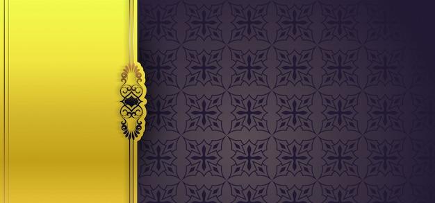 Patrón de banner floral transparente europeo color amarillo y negro