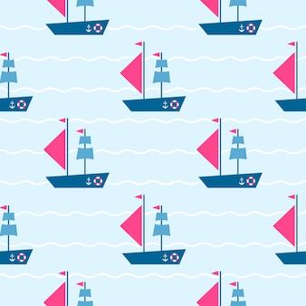 Patrón con barcos en las olas del mar