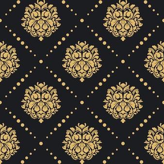 Patrón barroco victoriano. estilo damasco de diseño retro de fondo.
