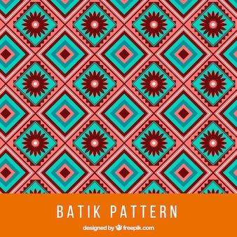 Patrón batik con cuadrados y flores