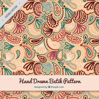 Patrón batik dibujado a mano