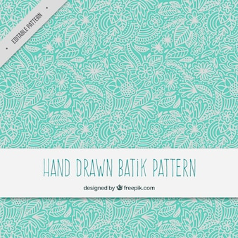 Patrón batik ornamental floral dibujado a mano