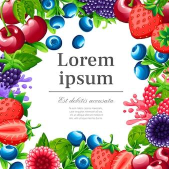 Patrón de bayas dulces. ilustración con fresa, cereza, frambuesa, mora y arándano. bayas con hojas verdes. ilustración para cartel decorativo. lugar para su texto.