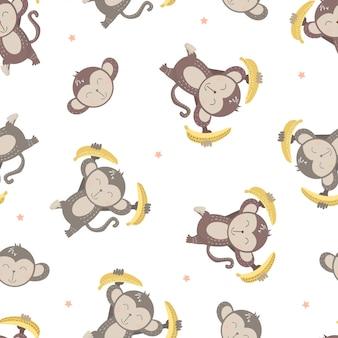 Patrón de bebé niños de mono lindo en el fondo blanco