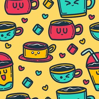 Patrón de bebida de dibujos animados doodle