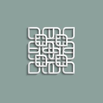 Patrón blanco 3d en estilo árabe