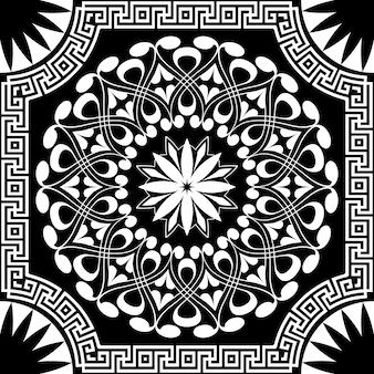Patrón blanco de espirales, remolinos y cadenas sobre un fondo negro.