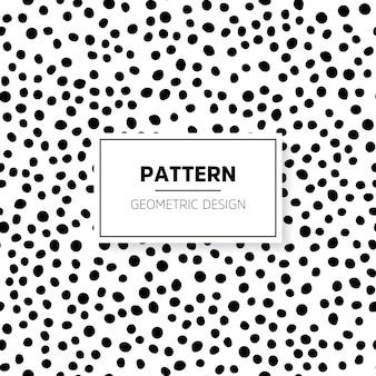 Patrón blanco y negro dibujado a mano con puntos